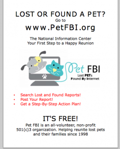 Pet FBI Flyer for lost and found database